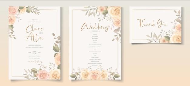 Diseño de plantilla de invitación de boda flor rosa floreciente dibujada a mano