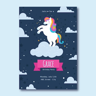 Diseño de plantilla de invitación de cumpleaños de unicornio plano orgánico