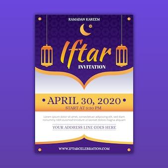 Diseño de plantilla de invitación de iftar