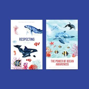 Diseño de plantilla de libro electrónico para el concepto del día mundial de los océanos con animales marinos, la orca, el nemo y el vector de acuarela de delfines