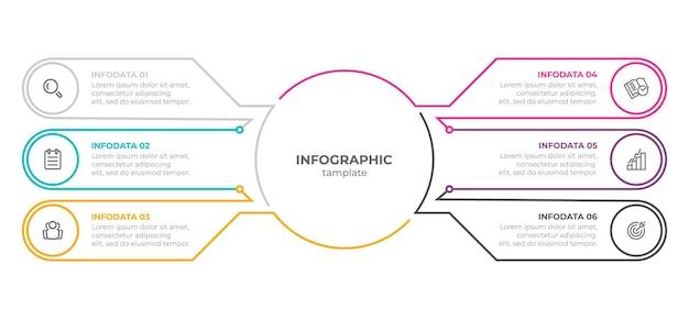 Diseño de plantilla de línea delgada infográfica con iconos y 6 opciones o pasos