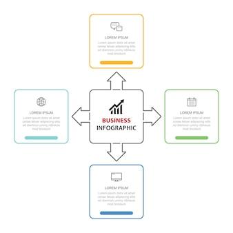 Diseño de plantilla de línea fina de infografías de 4 opciones de datos. ilustración de fondo abstracto. se puede utilizar para diseño de flujo de trabajo, paso empresarial, banner, diseño web.