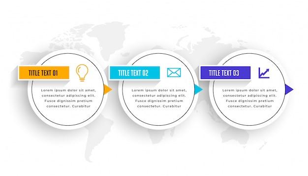 Diseño de plantilla de línea de tiempo de elementos infográficos de tres pasos