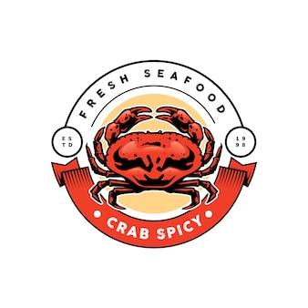 Diseño de plantilla de logotipo de cangrejo de mariscos
