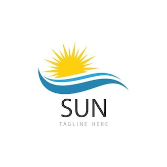 Diseño de plantilla de logotipo de icono de ilustración de vector de sol