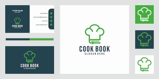 Diseño de plantilla de logotipo de libro de recetas en diseño de estilo de línea. combinación de gorro de chef con libro de recetas