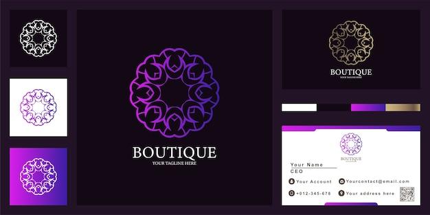 Diseño de plantilla de logotipo de lujo flor, boutique o adorno con tarjeta de visita.