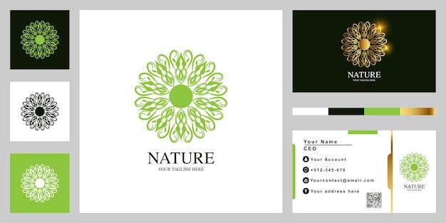 Diseño de plantilla de logotipo de lujo flor o adorno con tarjeta de visita.