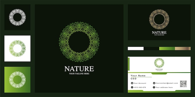 Diseño de plantilla de logotipo de lujo mandala o ornamento con tarjeta de visita