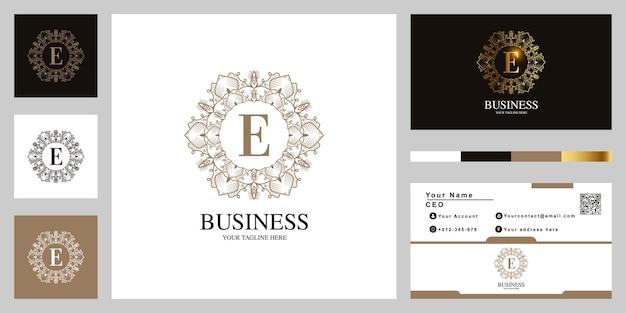 Diseño de plantilla de logotipo de marco de flor de adorno de letra e con tarjeta de visita.