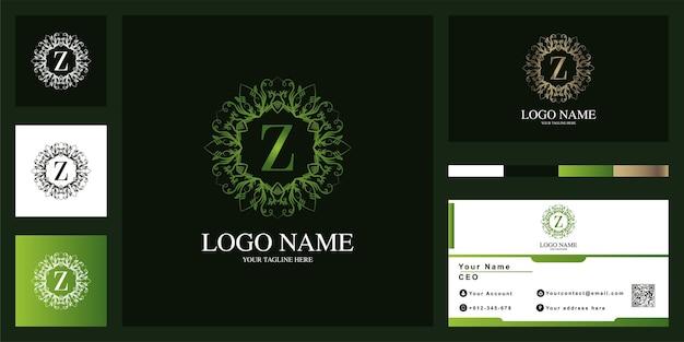 Diseño de plantilla de logotipo de marco de flor de adorno de lujo letra z con tarjeta de visita.