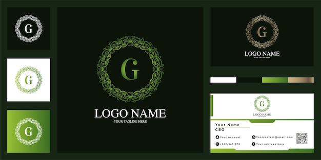 Diseño de plantilla de logotipo de marco de flor de adorno de lujo con tarjeta de visita