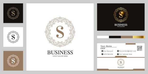 Diseño de plantilla de logotipo de marco de flor de ornamento de letra s con tarjeta de visita.