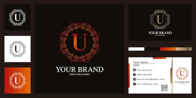 Diseño de plantilla de logotipo de marco de flor de ornamento de lujo letra u con tarjeta de visita.