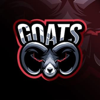 Diseño de plantilla de logotipo de mascota de cabeza de cabra