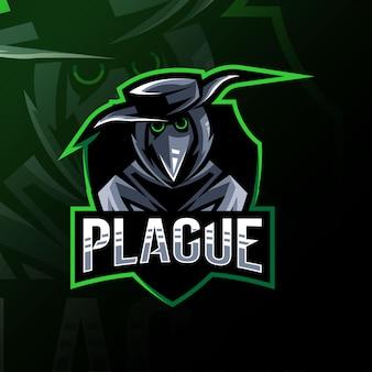 Diseño de plantilla de logotipo de mascota de doctor de peste