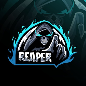 Diseño de plantilla de logotipo de mascota reaper