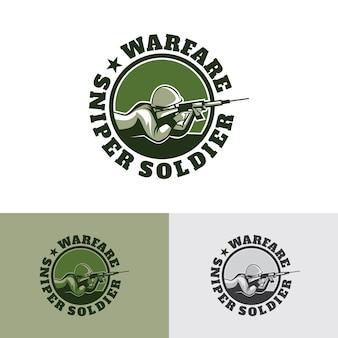 Diseño de plantilla de logotipo de soldado de francotirador de guerra