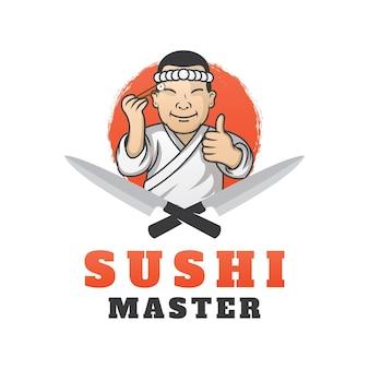 Diseño de plantilla de logotipo sushi master