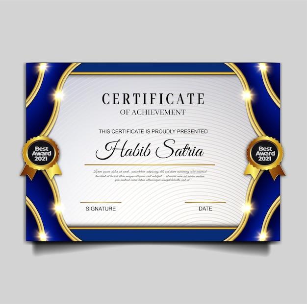 Diseño de plantilla de logro de certificado de lujo
