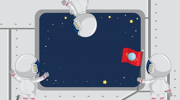 Diseño de plantilla de marco con astronautas mirando por la ventana