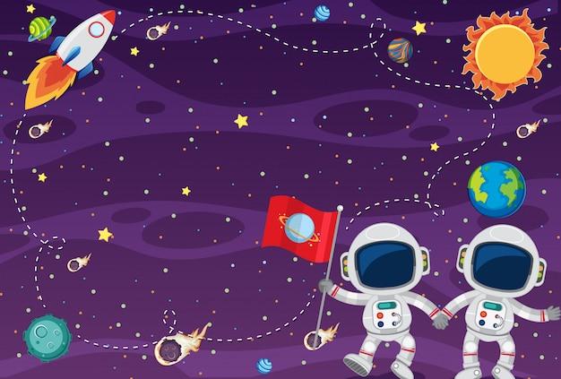 Diseño de plantilla de marco con astronautas en el spce