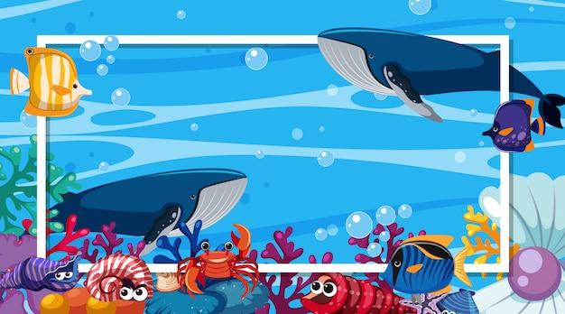 Diseño de plantilla de marco con criaturas marinas bajo el océano