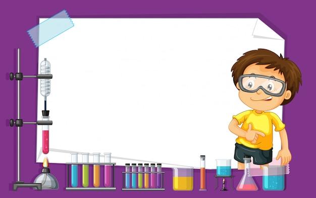 Diseño de plantilla de marco con niño en laboratorio de ciencias