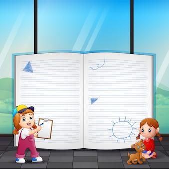Diseño de plantilla de marco con niños felices