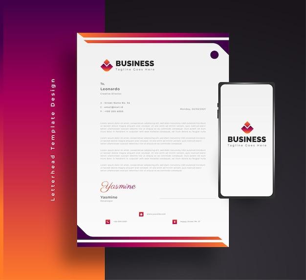 Diseño de plantilla de membrete de negocios moderno en colorido concepto futurista con teléfono inteligente en el lateral