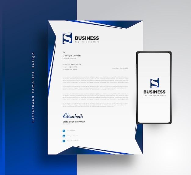Diseño de plantilla de membrete de negocios moderno en concepto futurista azul con teléfono inteligente en el lateral