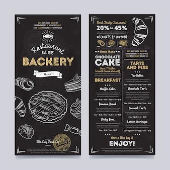 Diseño de plantilla de menú de cafetería restaurante, vector