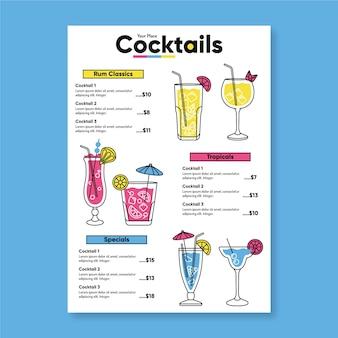 Diseño de plantilla de menú de cócteles