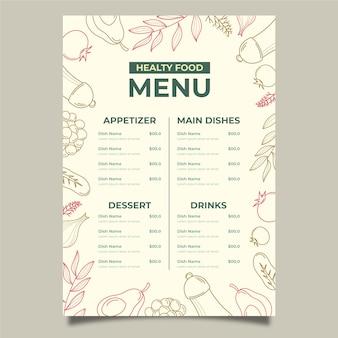 Diseño de plantilla de menú de comida sana vintage