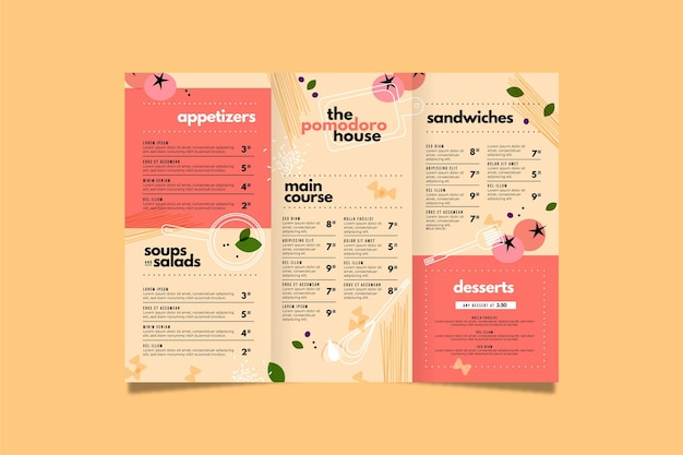 Diseño de plantilla de menú de comida