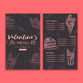 Diseño de plantilla de menú del día de san valentín