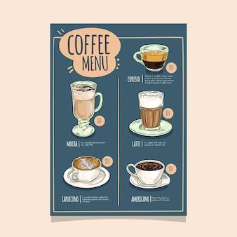 Diseño de plantilla de menú de restaurante de café