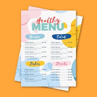 Diseño de plantilla de menú de restaurante de comida saludable