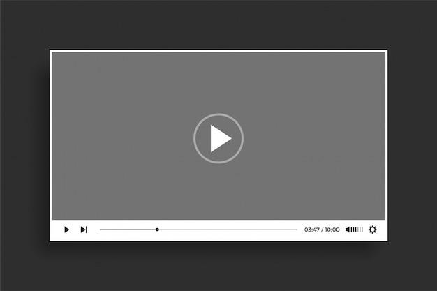 Diseño de plantilla moderna de reproductor de video blanco estilo plano