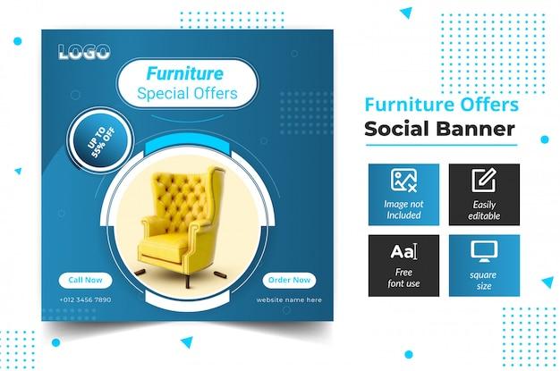 Diseño de plantilla de muebles de banner de redes sociales