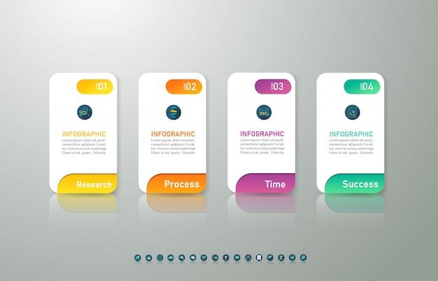 Diseño de plantilla de negocio 4 opciones de elemento de gráfico de infografía.