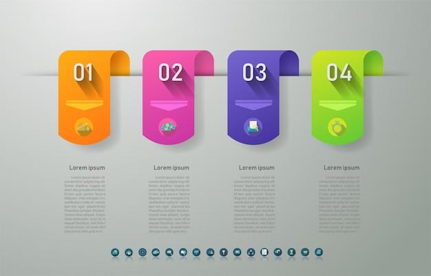 Diseño de plantilla de negocio 4 opciones elemento de gráfico infográfico.