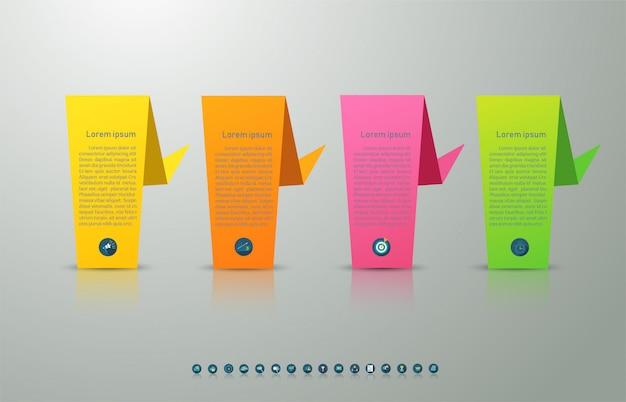 Diseño de plantilla de negocio 4 opciones o pasos elemento gráfico infográfico.