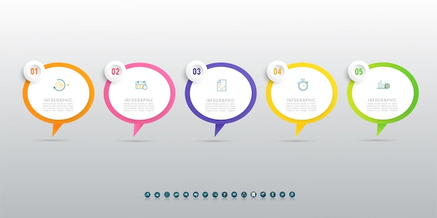 Diseño de plantilla de negocio elemento de gráfico de cinco pasos infográfico