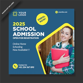 Diseño de plantilla de nstagram de admisión escolar