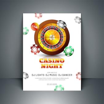 Diseño de plantilla o flyer de celebración de la noche de casino con ruleta