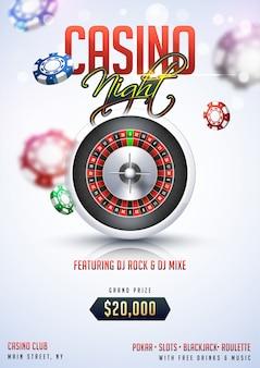 Diseño de plantilla o flyer fiesta de noche de casino con