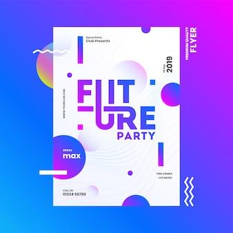 Diseño de plantilla o folleto de future party con detalles de hora, fecha y lugar en el fondo abstracto.