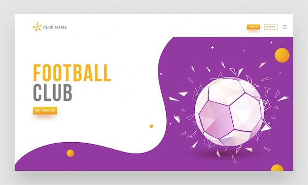 Diseño de plantilla o página web de aterrizaje sensible para footb