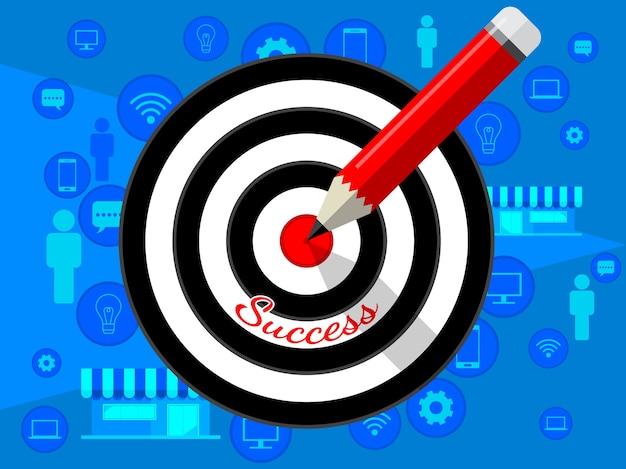 Diseño de plantilla objetivo diana y lápiz para la estrategia empresarial. ilustración plana en azul baackground